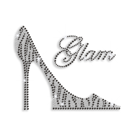 Twinkling Leopard Print High Heels Rhinestone Iron on Pattern