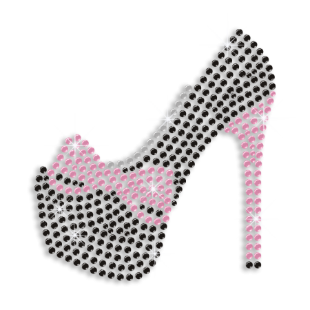 Black High Heels with Pink Ribbon Hotfix Crystal Transfer