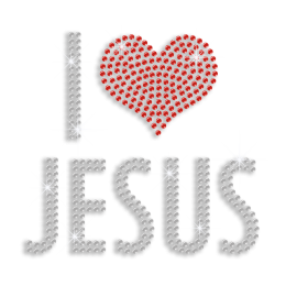 Crystal I Love Jesus Iron-on Rhinestone Transfer