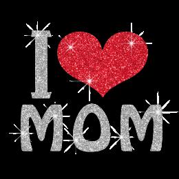 Bling I Love Mom Iron-on Glitter Transfer Motif