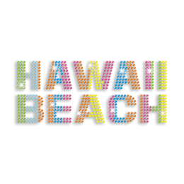 Colorful HAWAII BEACH Iron-on Rhinestone Transfer