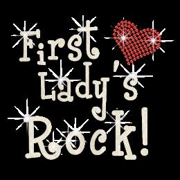 Glittery First Lady's Rock Heart Glitter Sequin Iron on Transfer