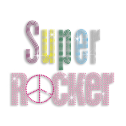Colorful Super Rocker & Peace Sign Iron on Stud Transfer