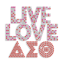 Live Love Greek Letters Sequin Iron-on Transfer