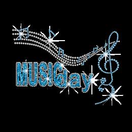 Beautiful Music Day Iron-on Glitter Rhinestone Transfer
