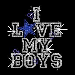 Cool I Love My Boys Iron-on Glitter Rhinestone Transfer