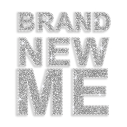 Silver Brand New Me Glitter Iron on Transfer Decal
