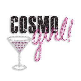 Cool Cosmo Girl Drink Cocktail Iron-on Glitter Rhinestone Transfer