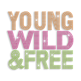 Colorful Young Wild & Free Neon Stud Iron-on Transfer