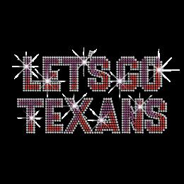 Fashionable Let's Go Texans Iron-on Rhinestone Transfer