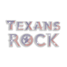 Fulgid Texans Rock Iron-on Rhinestone Transfer