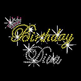 Pretty Birthday Diva & Crown Iron-on Rhinestone Transfer