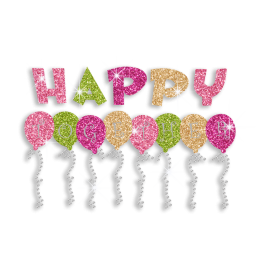 Colorful Happy Balloons Iron-on Glitter Rhinestone Transfer