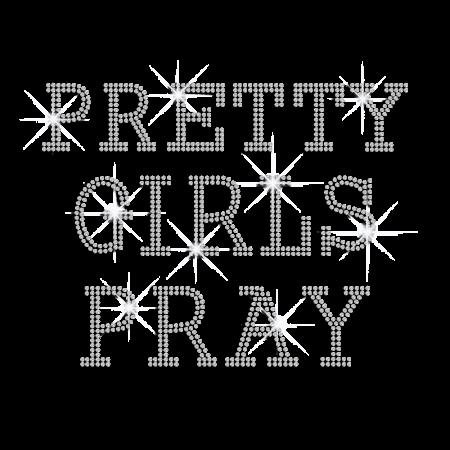Fashionable Pretty Girls Pray Hot Fix Rhinestone Transfer