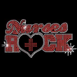 Bling Nurses Rock Iron-on Rhinestone Transfer Motif
