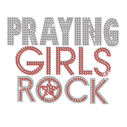 Beautiful Praying Girls Rock Hotfix Rhinestone Transfer