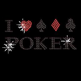 Bling I Love Poker Iron on Rhinestone Transfer