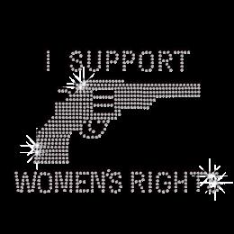 Crystal I Support Women's Right Iron-on Rhinestone Transfer