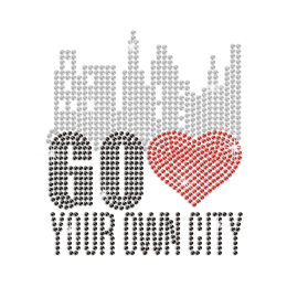 Go Love Your Own City Iron-on Rhinestone Transfer