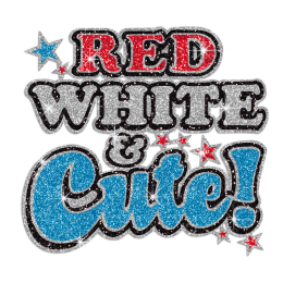 Red White & Blue Cute Hotfix Glitter Transfer Motif