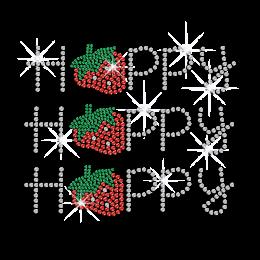 Strawberry Happy Letters Iron on Rhinestone Transfer