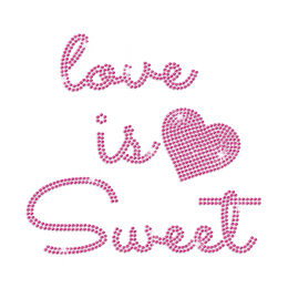 Love Is Sweet Pink Heart and Cute Letter Hotfix Bling Rhinestone Motif