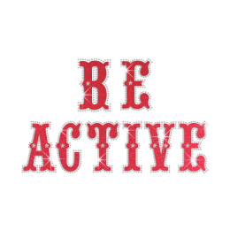 Be Active Iron on Flock Rhinestone Transfer Motif