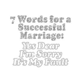 7 Words for A Successful Marriage Rhinestone Glitter Iron On