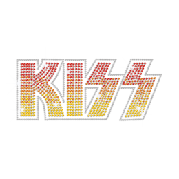 Bling Kiss with Graduated Color Iron on Rhinestone Transfer Decal
