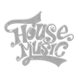 Best Custom Shinning Pure Crystal HOUSE MUSIC Rhinestone Iron on Transfer Motif for Shirts