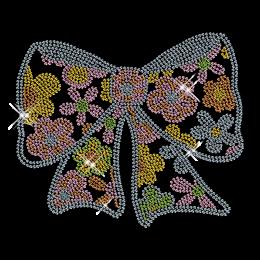 Best Custom Sparkling Flower Pattern Knotbow Diamante Iron on Transfer Design for Shirts