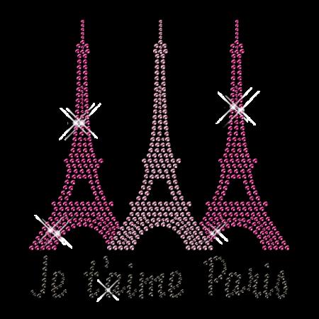 Best Custom Shinning I Love Paris Rhinestone Iron on Transfer Pattern for Shirts