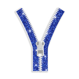 Vegas Show Zipper Decoration Glitter Nailhead Iron on Transfer