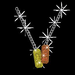 Magic Show Love Necklace Iron-on Rhinestone Glitter Transfer
