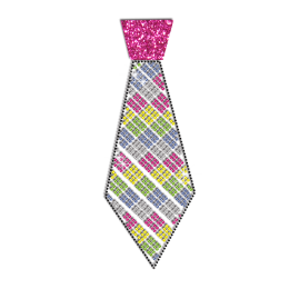 Lovely Colorful Tie Iron-on Glitter Rhinestone Transfer