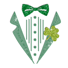 Pretty Green Saint Patrick Suit Iron-on Glitter Rhinestone Transfer