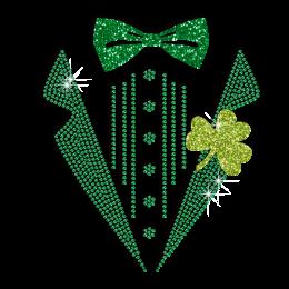 Pretty Green Saint Patrick Suit Iron-on Glitter Rhinestone Transfer
