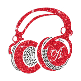 Fashionable Red Earphone Iron-on Rhinestone Transfer