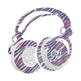 Zebra Pattern Earphone Iron-on Rhinestone Transfer