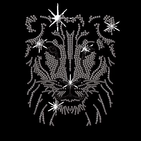 Rhinestone Male Lion Head Hotfix Transfer