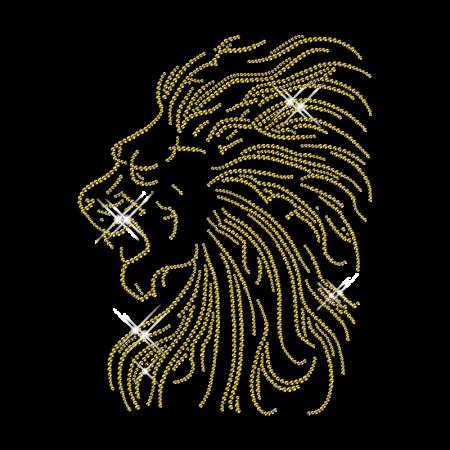 Gold Rhinestud Lion Head Hot Fix Pattern