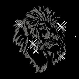 Gray Lion Head Rhinestud Iron on Design