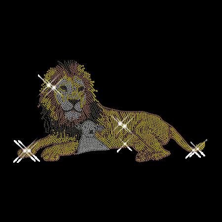 Rhinestone Lion and Lamp Hot Fix Transfer