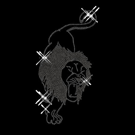 Black Rhinestud Lion Hot Fix Motif