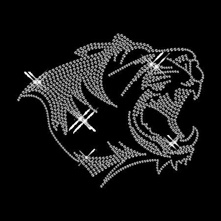 Shiny Crystal Lion Head Rhinestone Hot Fix Transfer