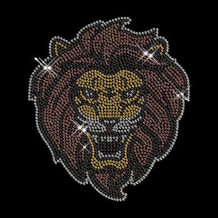 Rhinestone Hot Fix Lion Head Transfer