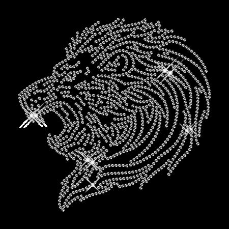 Bling Rhinestone Lion Head Iron on Transfer Pattern