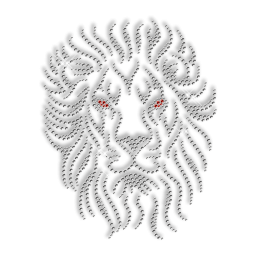 Crystal Rhinestone Lion Head Iron on Motif