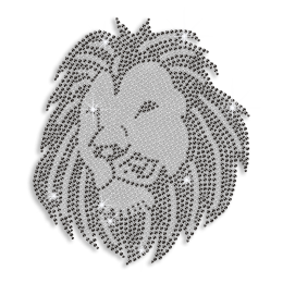 Custom Best Cool Sparkling Strong Lion in Crystal and Black Diamante Iron on Transfer Motif