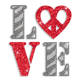 Best Shinning Love Peace Rhinestone Iron on Transfer Design for Shirts